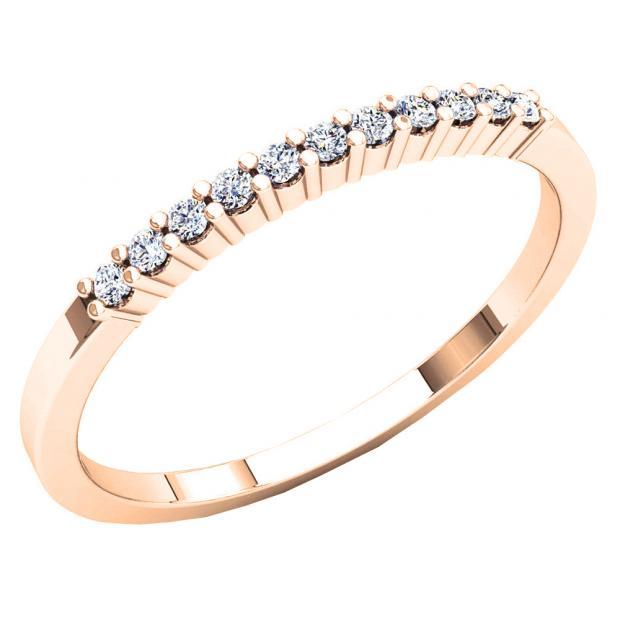 0.11 Carat (ctw) 10K Rose Gold Round Cut White Diamond Ladies Stackable Anniversary Band