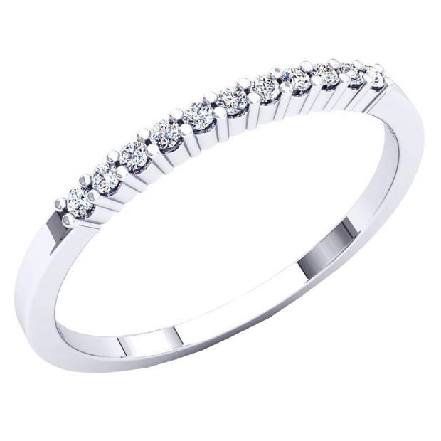 0.11 Carat (ctw) 14K White Gold Round Cut White Diamond Ladies Stackable Anniversary Band