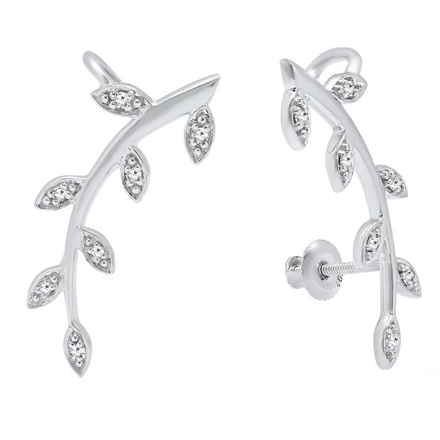 0.11 Carat (ctw) 10K White Gold Round Cut White Diamond Ladies leaf shaped Climber Earrings