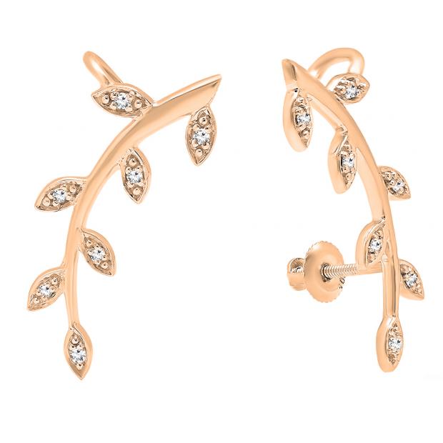 0.11 Carat (ctw) 14K Rose Gold Round Cut White Diamond Ladies leaf shaped Climber Earrings