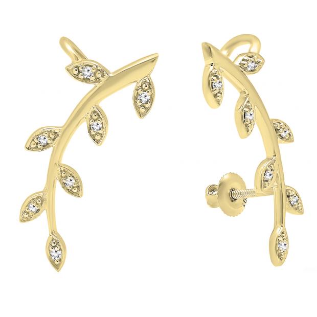 0.11 Carat (ctw) 18K Yellow Gold Round Cut White Diamond Ladies leaf shaped Climber Earrings