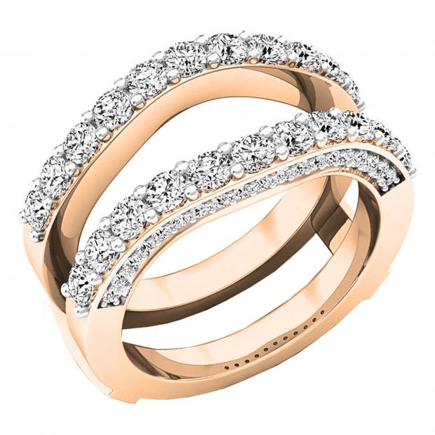 0.90 Carat (ctw) 10K Rose Gold Round Diamond Ladies Anniversary Band Millgrain Guard Double Ring