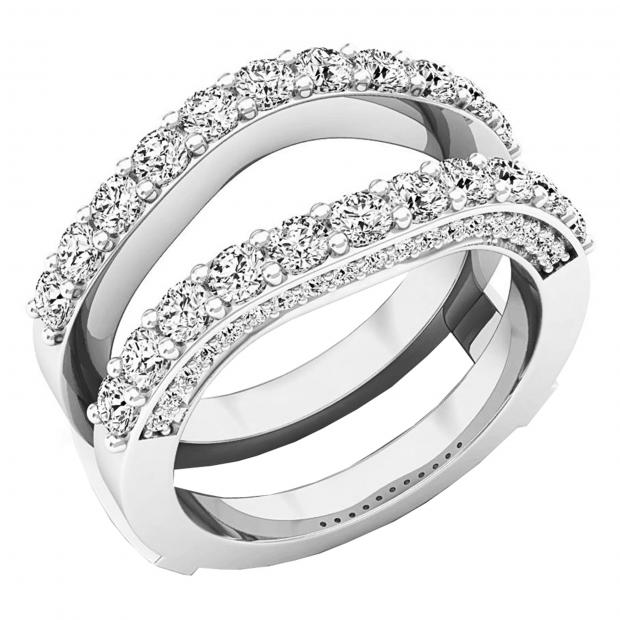 0.90 Carat (ctw) 10K White Gold Round Diamond Ladies Anniversary Band Millgrain Guard Double Ring