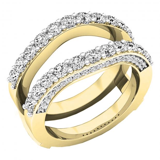 0.90 Carat (ctw) 10K Yellow Gold Round Diamond Ladies Anniversary Band Millgrain Guard Double Ring