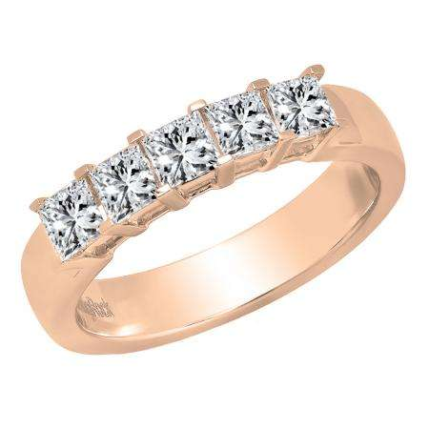 1.00 Carat (ctw) 14K Rose Gold Princess Cut Diamond Ladies 5 Stone Bridal Wedding Band 1 CT