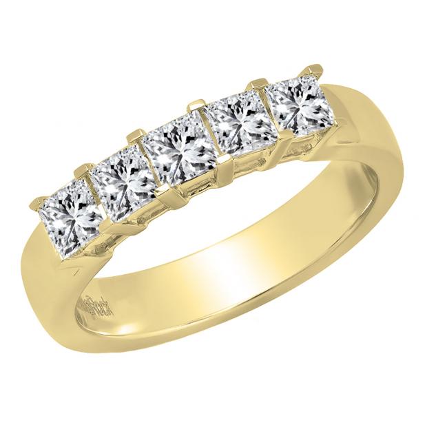 1.00 Carat (ctw) 14K Yellow Gold Princess Cut Diamond Ladies 5 Stone Bridal Wedding Band 1 CT