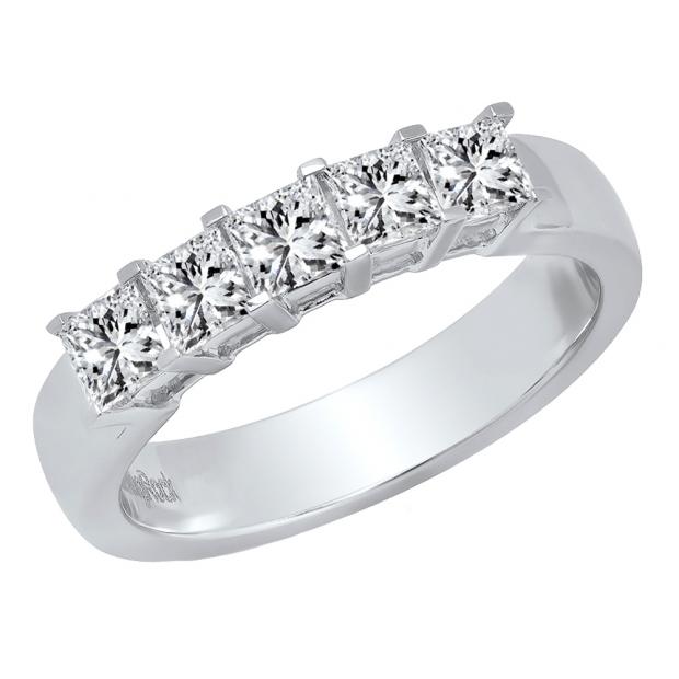 1.00 Carat (ctw) 18K White Gold Princess Cut Diamond Ladies 5 Stone Bridal Wedding Band 1 CT
