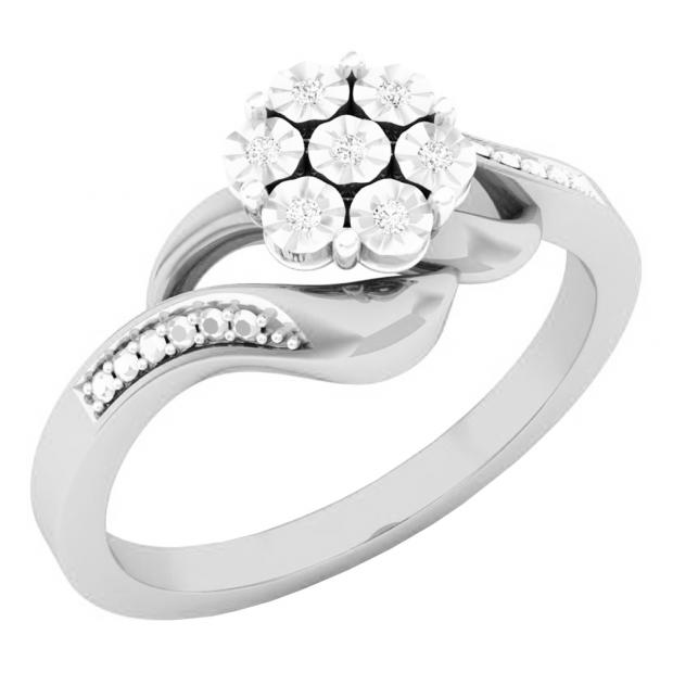 0.05 Carat (ctw) 10K White Gold Round White Diamond Ladies Cluster Flower Fashion Right Hand Ring
