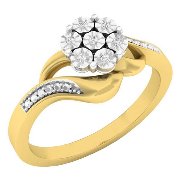 0.05 Carat (ctw) 10K Yellow Gold Round White Diamond Ladies Cluster Flower Fashion Right Hand Ring