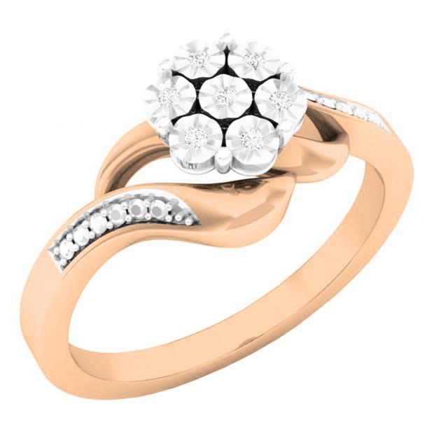 0.05 Carat (ctw) 18K Rose Gold Round White Diamond Ladies Cluster Flower Fashion Right Hand Ring
