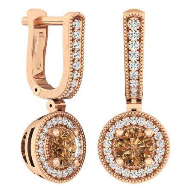 1.00 Carat (ctw) 10K Rose Gold Round Champagne & White Diamond Ladies Halo Dangling Earrings