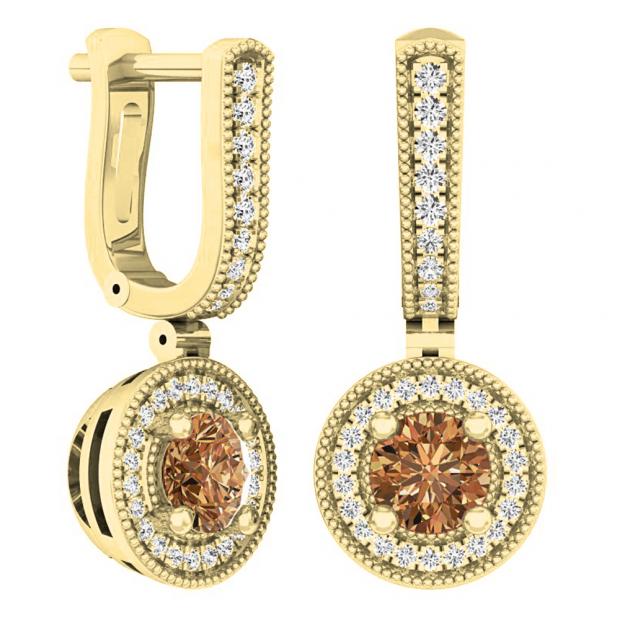 1.00 Carat (ctw) 14K Yellow Gold Round Champagne & White Diamond Ladies Halo Dangling Earrings