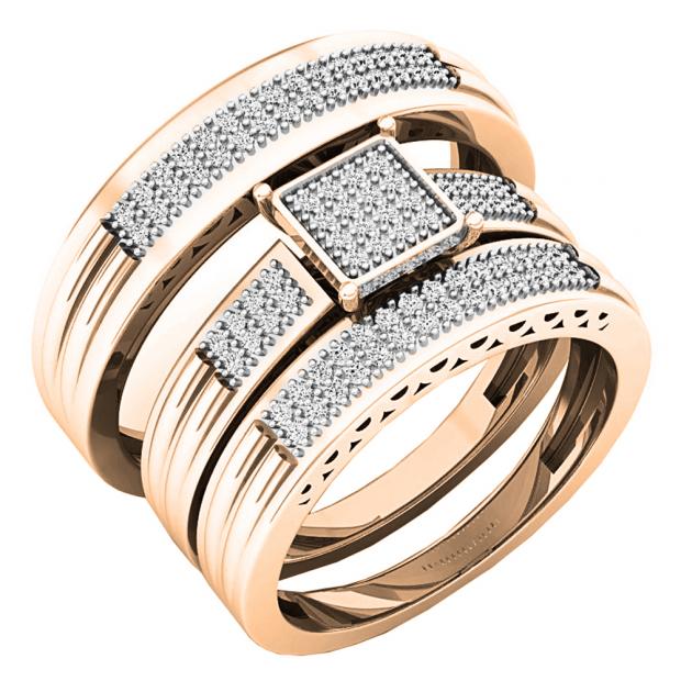 0.24 Carat (ctw) 14K Rose Gold White Diamond Men