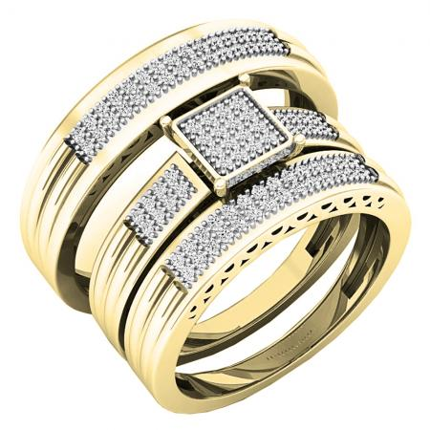0.24 Carat (ctw) 14K Yellow Gold White Diamond Men