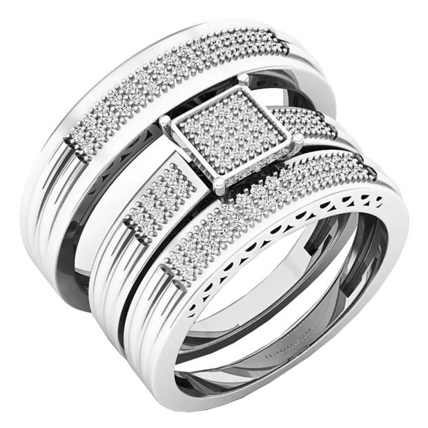 0.24 Carat (ctw) 18K White Gold White Diamond Men