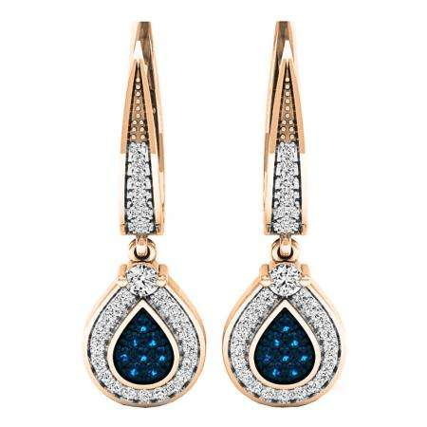 0.55 Carat (ctw) 14K Rose Gold Round Blue & White Diamond Ladies Drop Earrings 1/2 CT