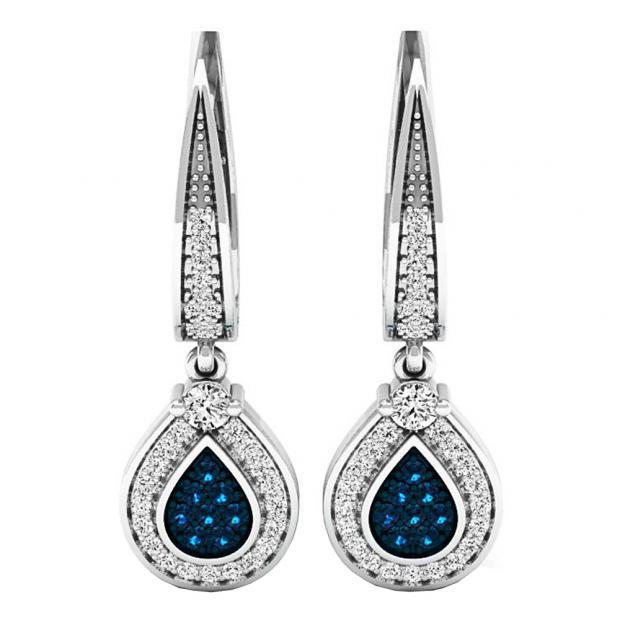 0.55 Carat (ctw) 14K White Gold Round Blue & White Diamond Ladies Drop Earrings 1/2 CT