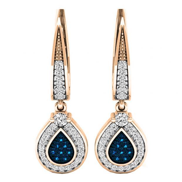 0.55 Carat (ctw) 18K Rose Gold Round Blue & White Diamond Ladies Drop Earrings 1/2 CT