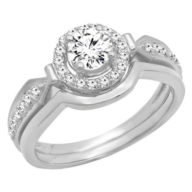 0.75 Carat (ctw) 14K White Gold Round Diamond Ladies Bridal Engagement Halo Ring Band Set 3/4 CT