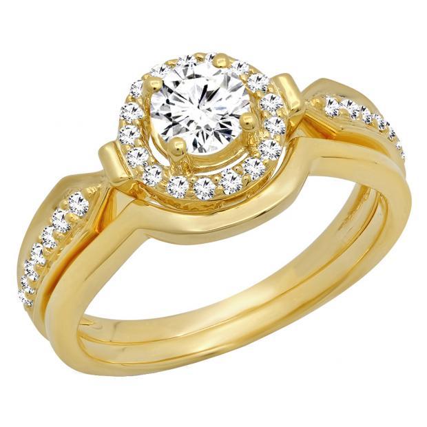 0.75 Carat (ctw) 14K Yellow Gold Round Diamond Ladies Bridal Engagement Halo Ring Band Set 3/4 CT