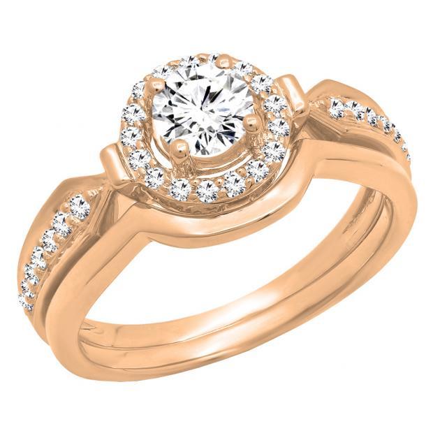 0.75 Carat (ctw) 18K Rose Gold Round Diamond Ladies Bridal Engagement Halo Ring Band Set 3/4 CT