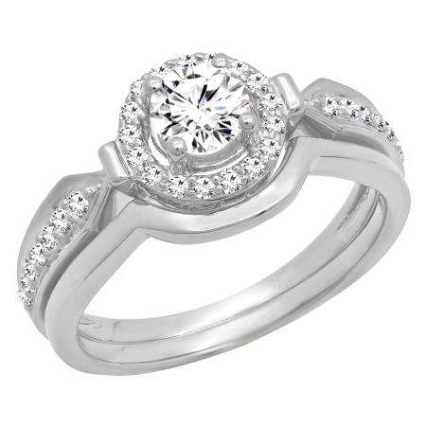 0.75 Carat (ctw) 18K White Gold Round Diamond Ladies Bridal Engagement Halo Ring Band Set 3/4 CT