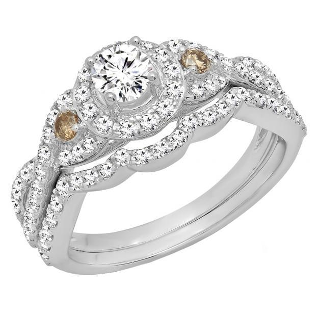 1.05 Carat (ctw) 18K White Gold Round Champagne & White Diamond Ladies Engagement Ring Set 1 CT