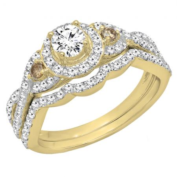 1.05 Carat (ctw) 18K Yellow Gold Round Champagne & White Diamond Ladies Engagement Ring Set 1 CT