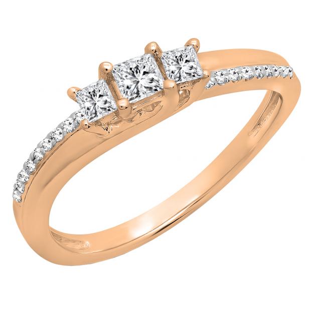 0.35 Carat (ctw) 14K Rose Gold Princess & Round Diamond Ladies Bridal Engagement Ring 1/3 CT