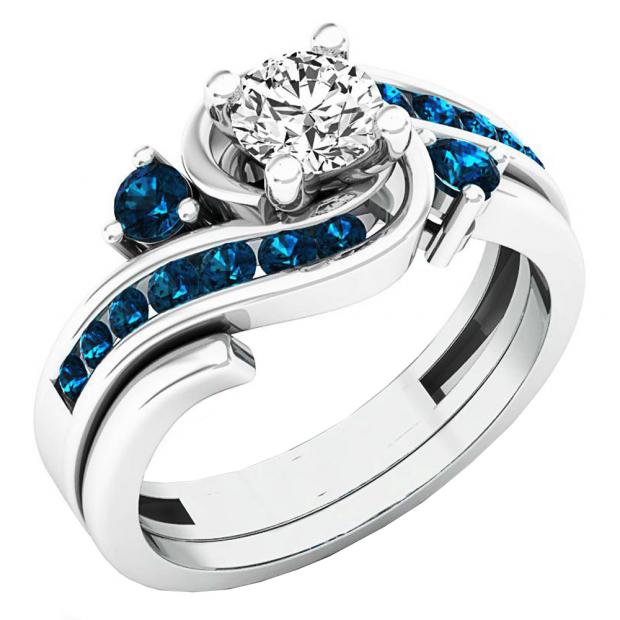 0.95 Carat (ctw) 14K White Gold Round Blue And White Diamond Ladies Engagement Ring Set 1 CT