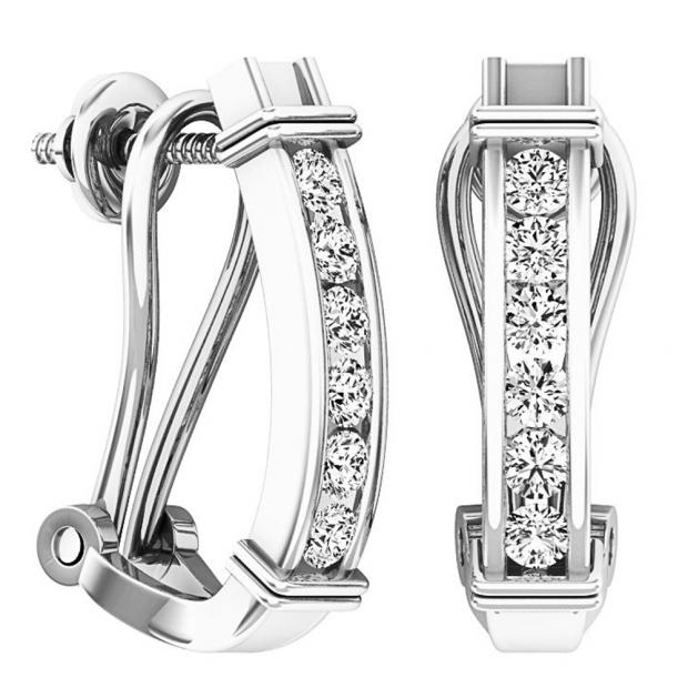 0.50 Carat (ctw) 14K White Gold Round Cut White Diamond Ladies Fashion Huggies Hoop Earrings 1/2 CT