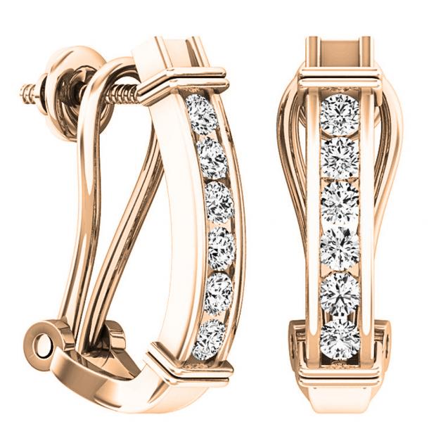 0.50 Carat (ctw) 18K Rose Gold Round Cut White Diamond Ladies Fashion Huggies Hoop Earrings 1/2 CT