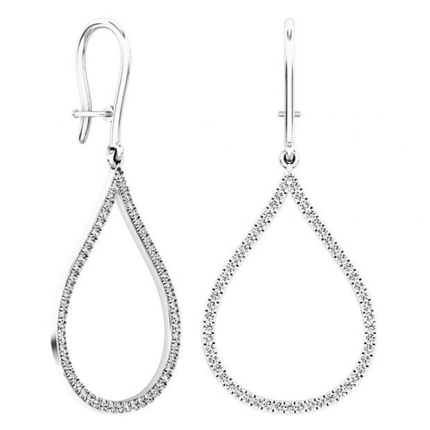 0.45 Carat (ctw) 10K White Gold Round White Diamond Ladies Teardrop Dangling Earrings