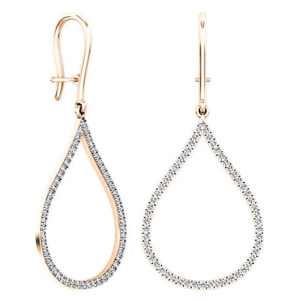 0.45 Carat (ctw) 18K Rose Gold Round White Diamond Ladies Teardrop Dangling Earrings