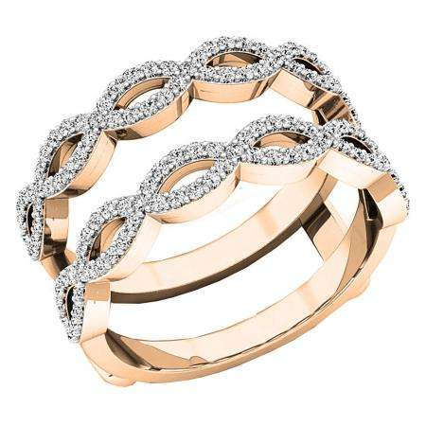 0.55 Carat (ctw) 10K Rose Gold Round white Diamond Ladies Wedding Band Enhancer Double Ring 1/2 CT
