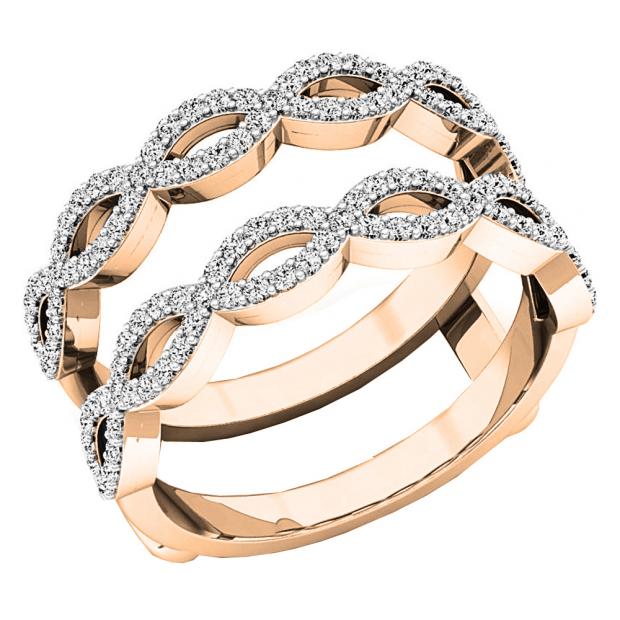 0.55 Carat (ctw) 14K Rose Gold Round white Diamond Ladies Wedding Band Enhancer Double Ring 1/2 CT