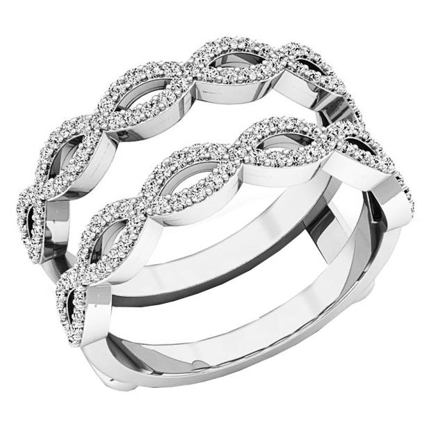 0.55 Carat (ctw) 18K White Gold Round white Diamond Ladies Wedding Band Enhancer Double Ring 1/2 CT