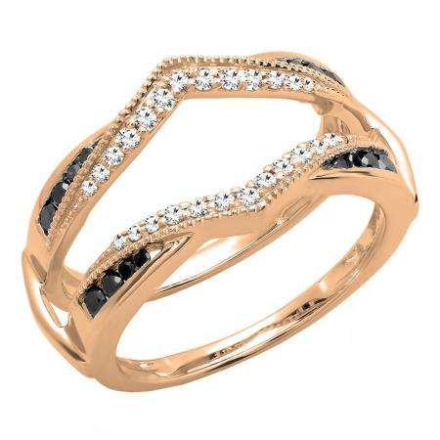 0.60 Carat (ctw) 14K Rose Gold Round White & Black Diamond Ladies Wedding Band Guard Double Ring