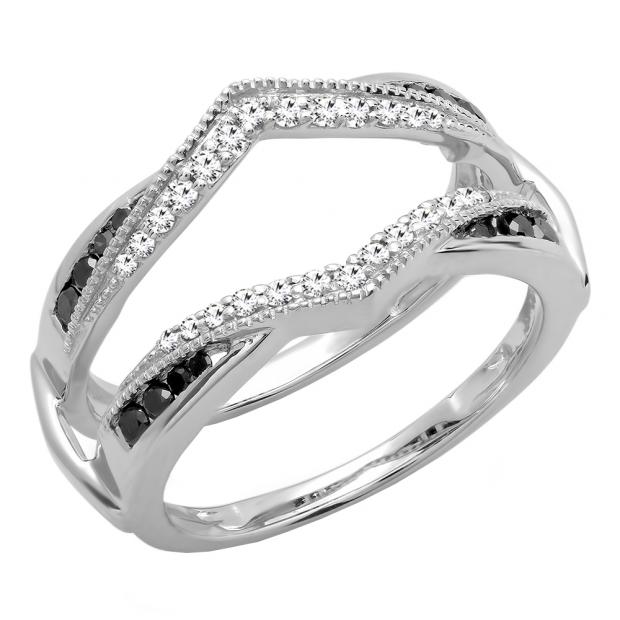 0.60 Carat (ctw) 14K White Gold Round White & Black Diamond Ladies Wedding Band Guard Double Ring