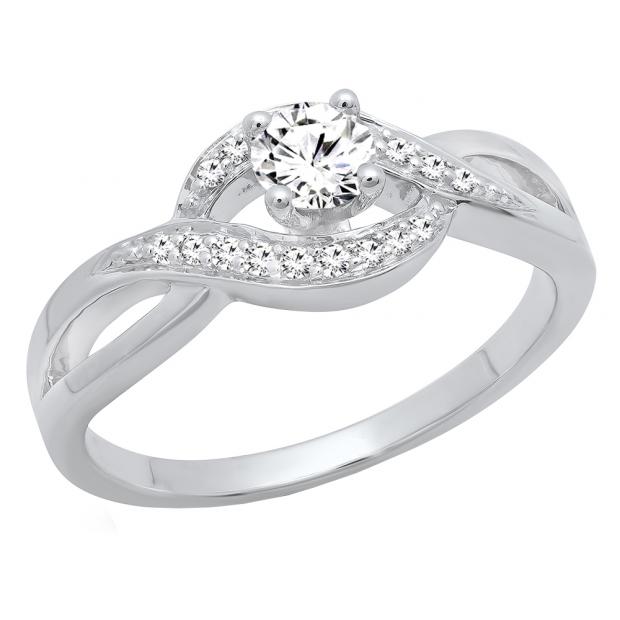 0.40 Carat (ctw) 10K White Gold Round White Diamond Ladies Swirl Split Shank Bridal Promise Ring