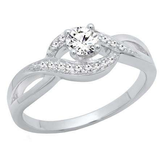 0.40 Carat (ctw) 14K White Gold Round White Diamond Ladies Swirl Split Shank Bridal Promise Ring