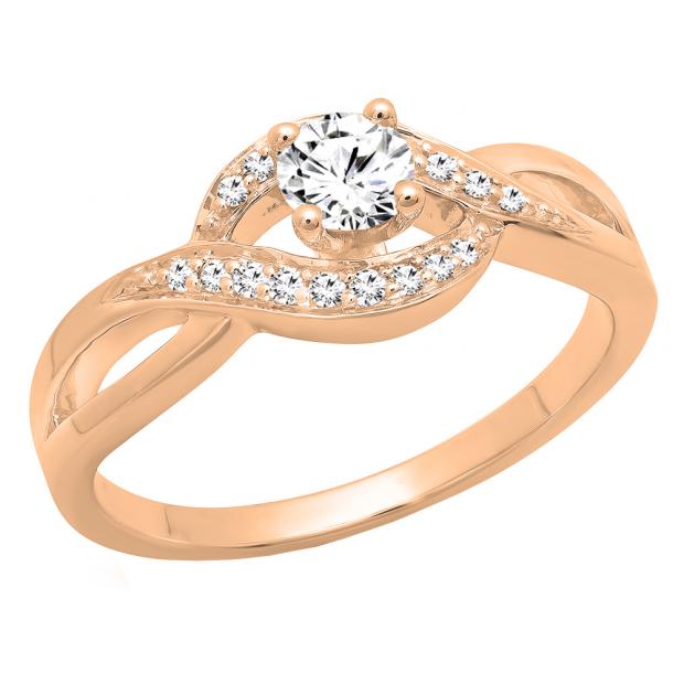 0.40 Carat (ctw) 18K Rose Gold Round White Diamond Ladies Swirl Split Shank Bridal Promise Ring