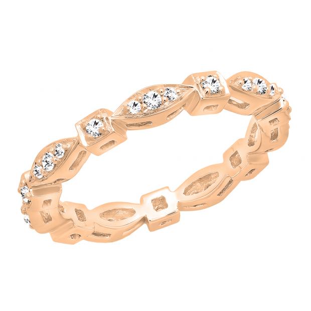 0.30 Carat (ctw) 18K Rose Gold Round White Diamond Ladies Vintage Wedding Stackable Band 1/3 CT