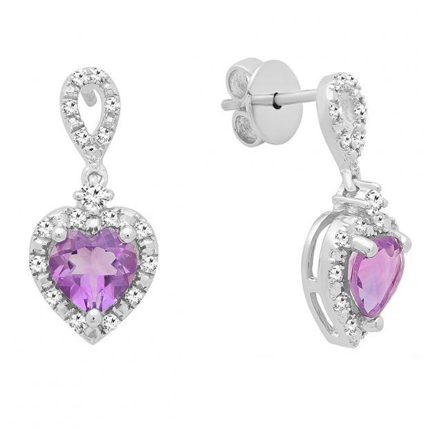 6 mm Each Heart Amethyst & Round White Diamond Ladies Drop Dangle Earrings, Sterling Silver