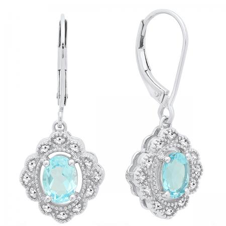 Sterling Silver 7X5 MM Oval Cut Blue Topaz And Round Diamond Ladies Vintage Cluster Drop Earrings