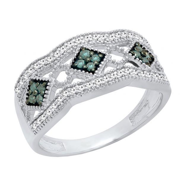0.35 Carat (ctw) Sterling Silver Round Blue & White Diamond Ladies Vintage Wedding Band 1/3 CT