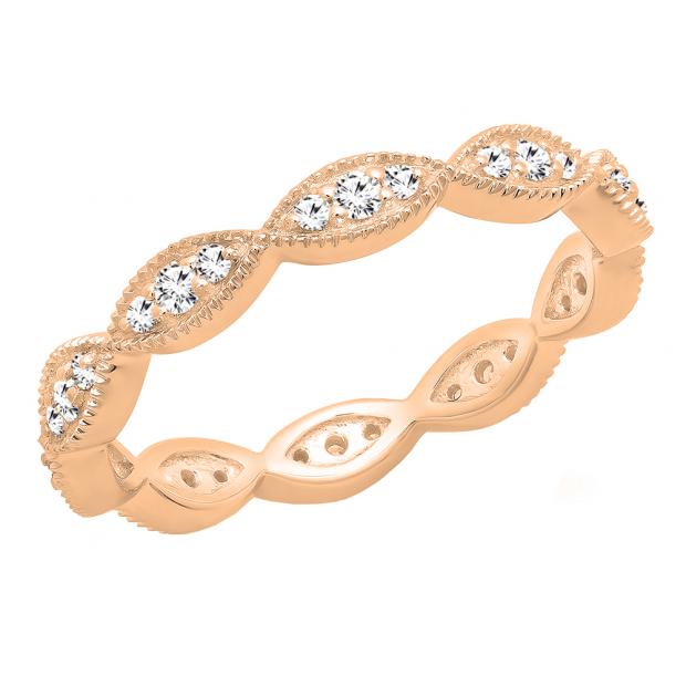 0.30 Carat (ctw) 10K Rose Gold Round White Diamond Ladies Vintage Stackable Wedding Band 1/3 CT
