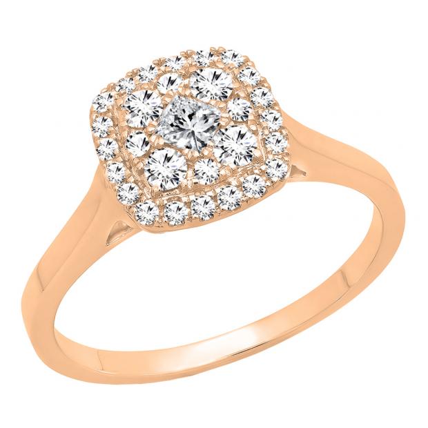 0.55 Carat (ctw) 18K Rose Gold Princess & Round Cut Diamond Ladies Vintage Engagement Ring 1/2 CT