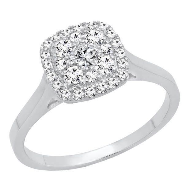 0.55 Carat (ctw) 18K White Gold Princess & Round Cut Diamond Ladies Vintage Engagement Ring 1/2 CT