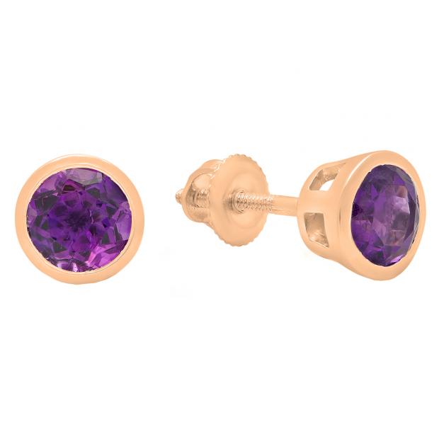 10K Rose Gold 5 MM Round Cut Amethyst Ladies Solitaire Stud Earrings